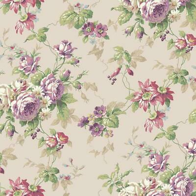 Dollhouse Miniature Shabby Chic Wallpaper Gray Pink Floral Flowers 1:12