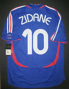 72bc8f436f2 New Adidas 2006 World Cup France Zinedine Zidane Home Blue Jersey ...