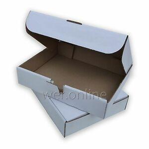 White-Compact-12x9x2-5-034-Sturdy-Postal-Mailing-Packaging-Die-Cut-Cardboard-Boxes