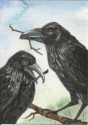 5x7 PRINT OF PAINTING RYTA RAVEN CROW CELLO MUSIC GOTHIC SURREALISM ART WITCH
