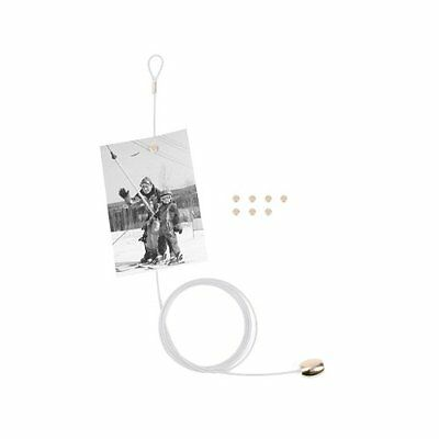 KIKKERLAND Cable Photo and Card Holder with 8 Magnets, WHITE holds 8 photos MH35