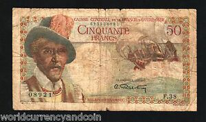 FRENCH-EQUATORIAL-AFRICA-50-FRANCS-P31-1947-SHIP-WOMAN-BREAST-CURRENCY-BANK-NOTE