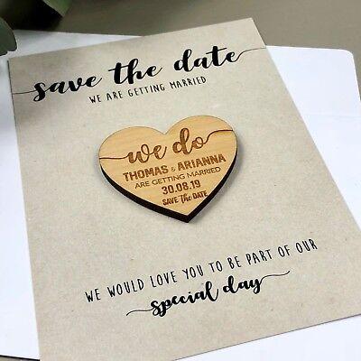 2b933727c284c Save The Date Magnets Cards Fridge Heart Boho Wooden Fridge Rustic  Invitation | eBay