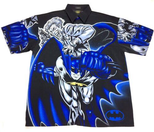 "M,L,XL 2001 Batman /""Joker/"" Button Down T-shirt Official Adult Black//Blue NWT sz"