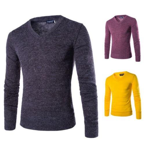 Herren Sweater Slim Fit V-Ausschnitt Langarm Strickshirt Pullover Sweatshirt hj