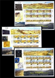 ISRAEL-2014-MAKHTESH-ANCIENT-EROSION-CRATERS-3-SHEETS-STAMPS-FDC-RAMON-BIKE-CAR