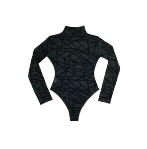 Women-039-s-Black-Sheer-Longsleeve-Bodysuit-Medium
