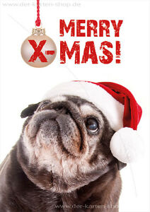 Mops Bilder Weihnachten.Details Zu Weihnachtskarte Klappkarte Karte Weihnachten Lustiger Mops Merry X Mas