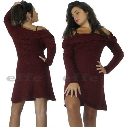 Miniabito donna maxipull pullover vestito maglione maxi collo sciallato nuovo
