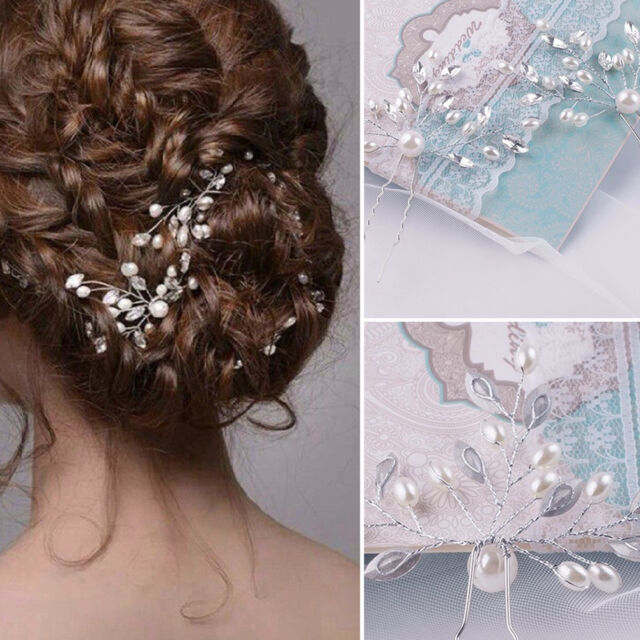 Pearl Wedding Bridal HairpinBride Rhinestone Flower Faux Hair Comb Clip Crystal