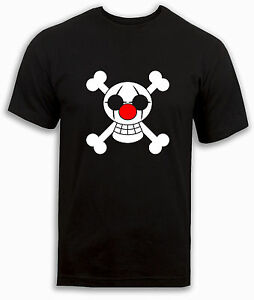 One-piece-T-shirt-Buggy-Pirates-Clown-Pirate-flag-Anime-Black-Top-Mens-S-to-2XL