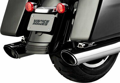 Chrome Slip-On Exhaust for Harley Davidso Vance and Hines 16672 Twin Slash Round 4in Touring-2017 and 2018 Models ONLY