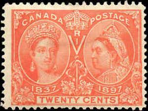 Canada Mint H F Scott #59 20c 1897 Diamond Jubilee Issue Stamp