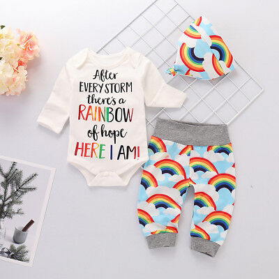 Newborn Baby Boys Girls Infants 3Pcs Outfit Clothes Romper Tops Pants Hat Set