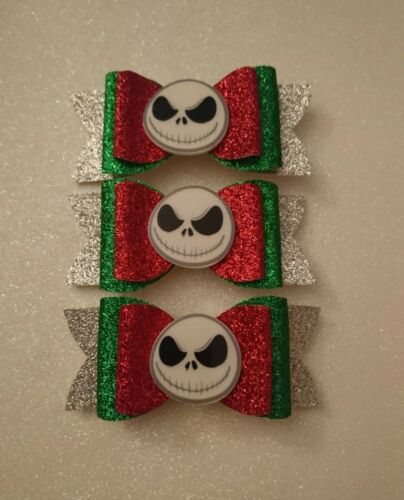 *One* The Nightmare Before Christmas Jack Skeleton Glitter Hair Bow