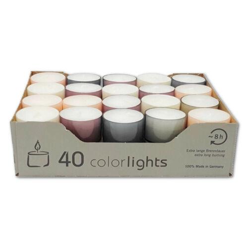 8 Std Brenndauer Wenzel Neu Teelichter im farbigen Acryl Cup Pastell Edition ca
