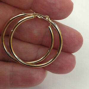 Details About Fashion 14k Yellow Gold 2 0mm X 25mm Round Shiny Runway Hoop Earrings