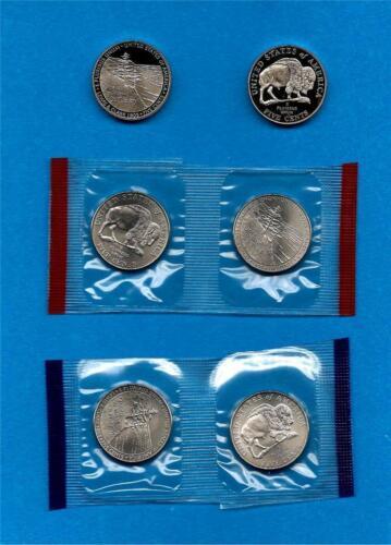 SIX Coins 2005 P D S Satin BU and Proof Jefferson Nickel Set-Westward Journey