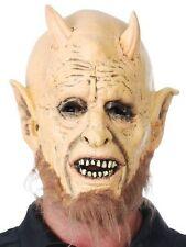 New Adult Satan Devil Lord Costume Halloween Mask with Horns + Beard