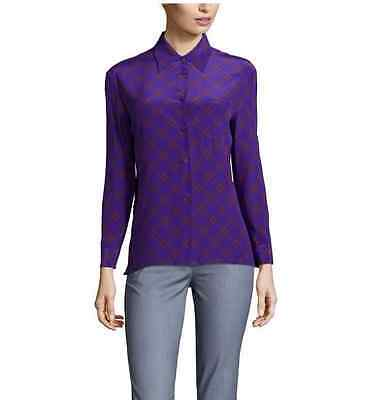 $925 NWT PRADA Purple & Red Plaid Print 100% Silk Blouse Sz 42 IT / 8 US $925