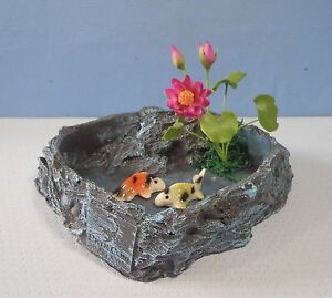 Miniature artificial fish pond with carps koi lotus c1u for Artificial fish pond