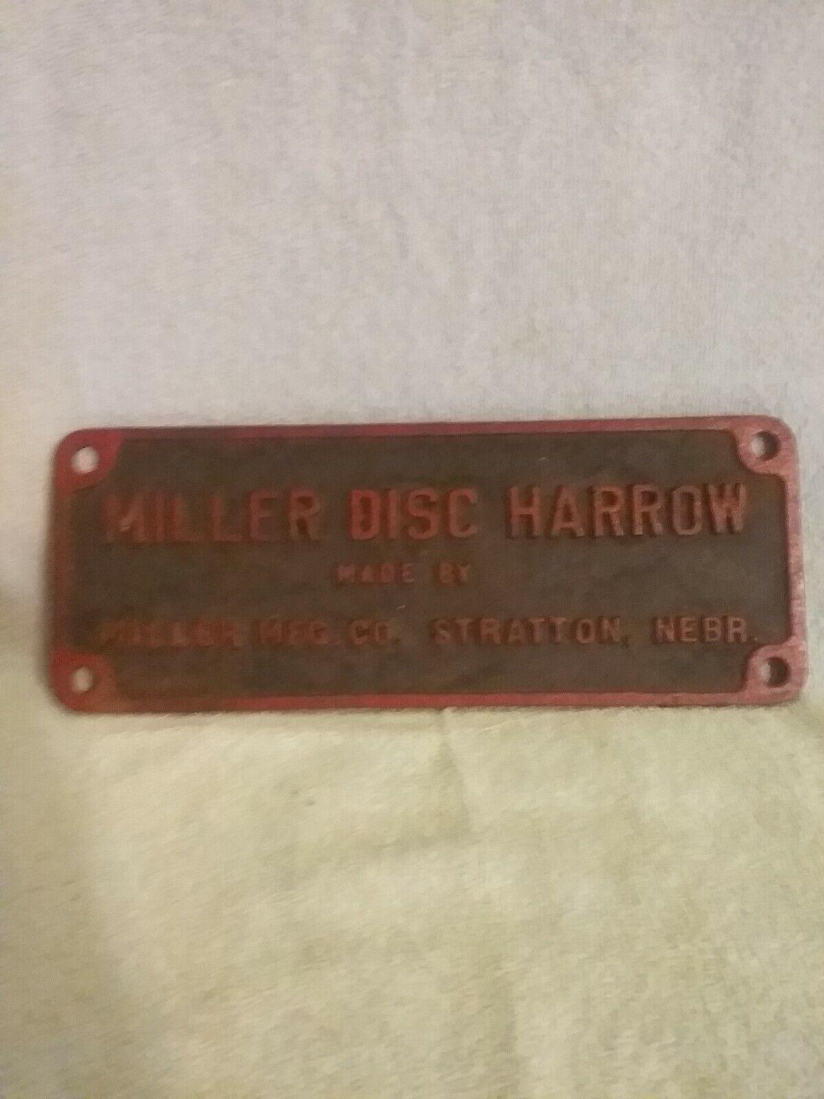 Vintage Cast Iron Miller Disc Harrow Name Plaque