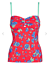 M/&S Red Tankini Strapless Bandeau Ruched Padded Green Flame Detachable Straps