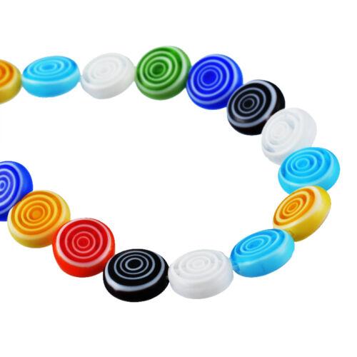 1Strang Glasperlen Perlen Beads Rund Streifen Blumen Mehrfarbig 0.6x0.6cm LP