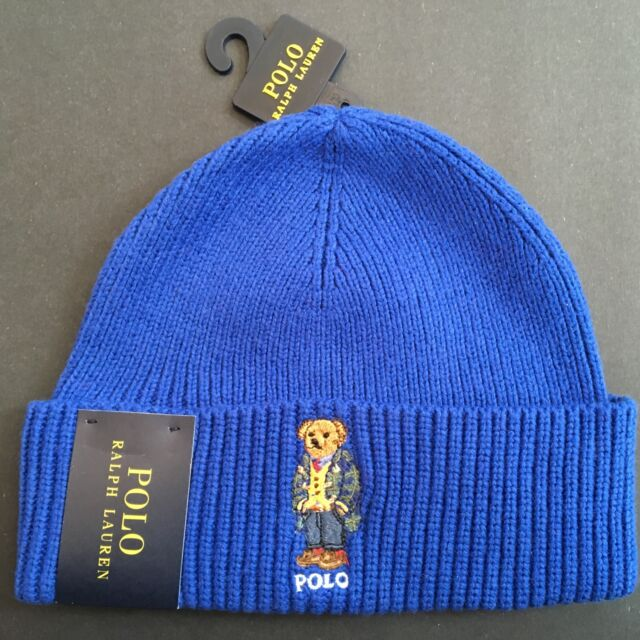 Polo Ralph Lauren Polo Bear Hat Beanie Preppy Bear Flag NWT Royal Blue 56ecb885d72