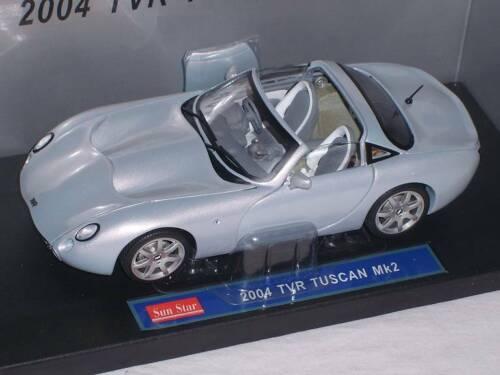 TVR Tuscan mk2 Mk II 2004 plata azul 1//18 Sun Star Sunstar maqueta de coche modelo au