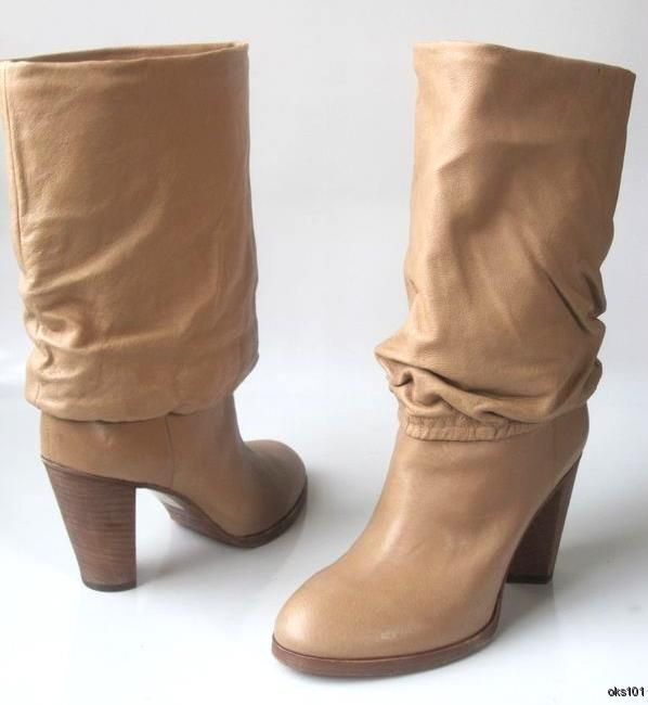 New MARC JACOBS beige leather pull-on cuff BOOTS BOOTS BOOTS shoes 38.5 8.5 very comfortable 4e48d6