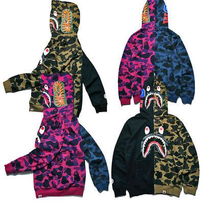 2020 Bathing ape Bape Shark Jaw Camo Full Zipper Hoodie Men/'s Sweats Coat Jacket
