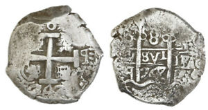 Potosi-Bolivia-Silver-Cob-8-Reales-1747q-Spanish-Colonial-Coinage