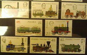 POLAND STAMPS MNH Fi2280-87 Sc2143-50 Mi2427-34 - Locomotive History, 1976, **