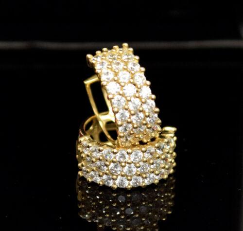 14K Solide Or Jaune 1.75CTW créé Diamond CALIN Boucles d/'oreilles Créoles