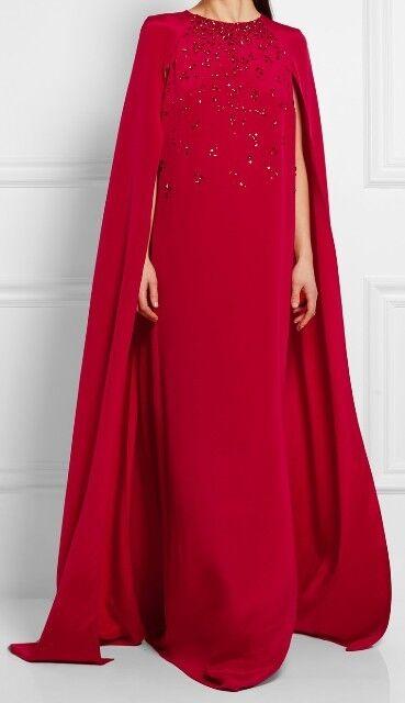 New Oscar de la Renta RED Cape-effect embellished Silk Caftan Gown S