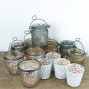 Vintage-Style-Glass-Tea-Light-Holders-Silver-Holder-Candle-Wedding-Antique-Retro
