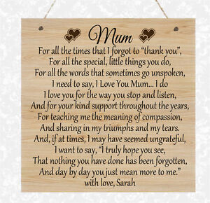 Mothers Day Gifts Mum Gran Plaque Nana Present Sign Personalised Nan Granny Poem
