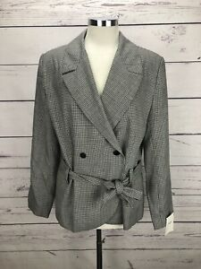 Theory-Belted-Jacket-Houndstooth-Women-s-Size-8-Short-Coat-Blazer-325-NWT
