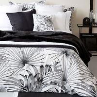 Zara Home Black White Palm Print Cotton King Size Duvet Cover