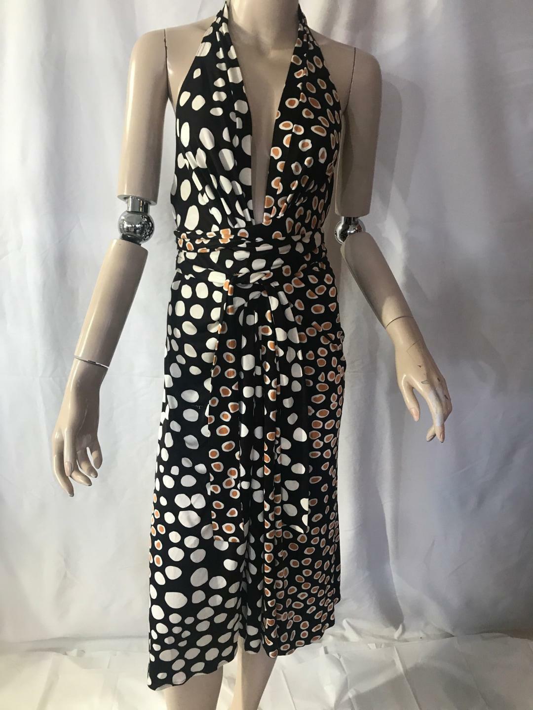 Issa London Halter polka dot animal print silk dress US 12  NWT