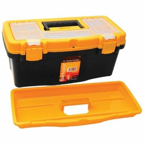 "New 16/"" Plastic Tool Box Case with Handle Lid Storage Organiser Utility Garage"