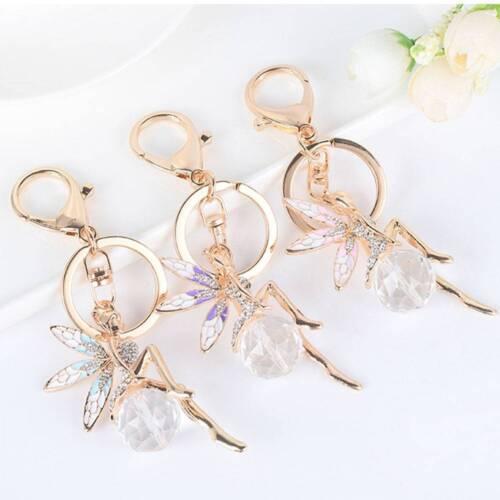 Crystal Angel Keychain Bag Charm Metal Key Chain Flower Fairy Pendants Key Ring^