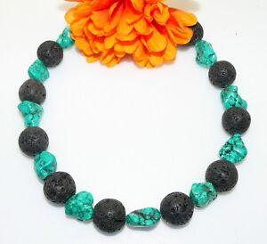 Auffallende-opulente-Kette-Natur-Lava-Perle-Schwarz-Tuerkis-Nuggets-318n