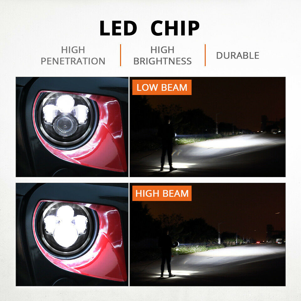 "Pair 7"" Inch Round LED Headlights Halo Angle Eyes For Jeep Wrangler JK LJ TJ CJ 3"