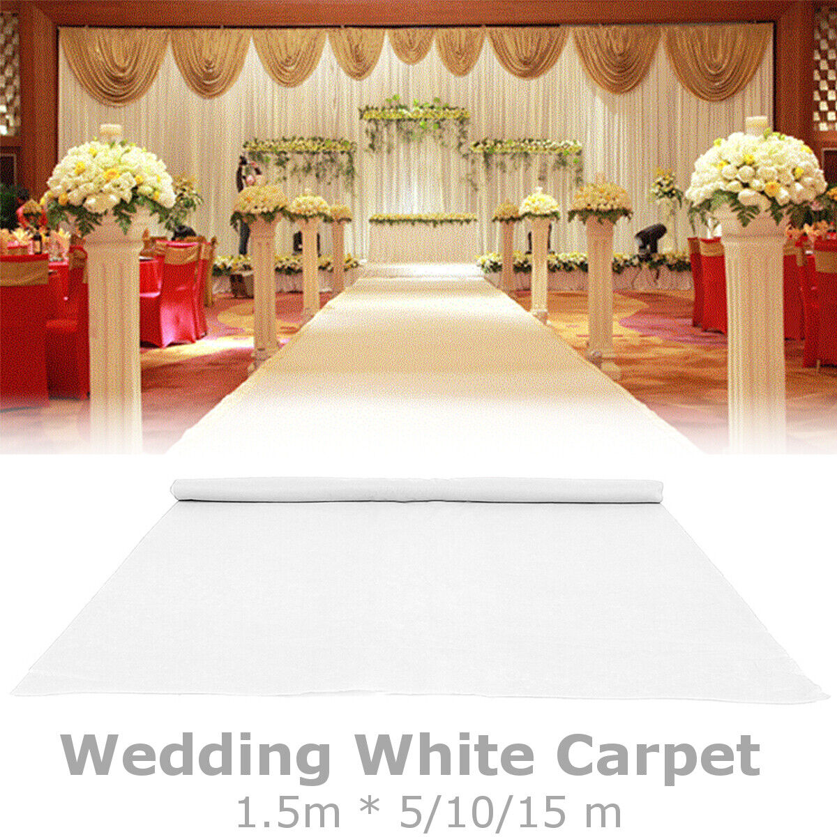 5 10 15m Weiß Carpet Runner Wedding Party Aisle Floor Exhibition Festival