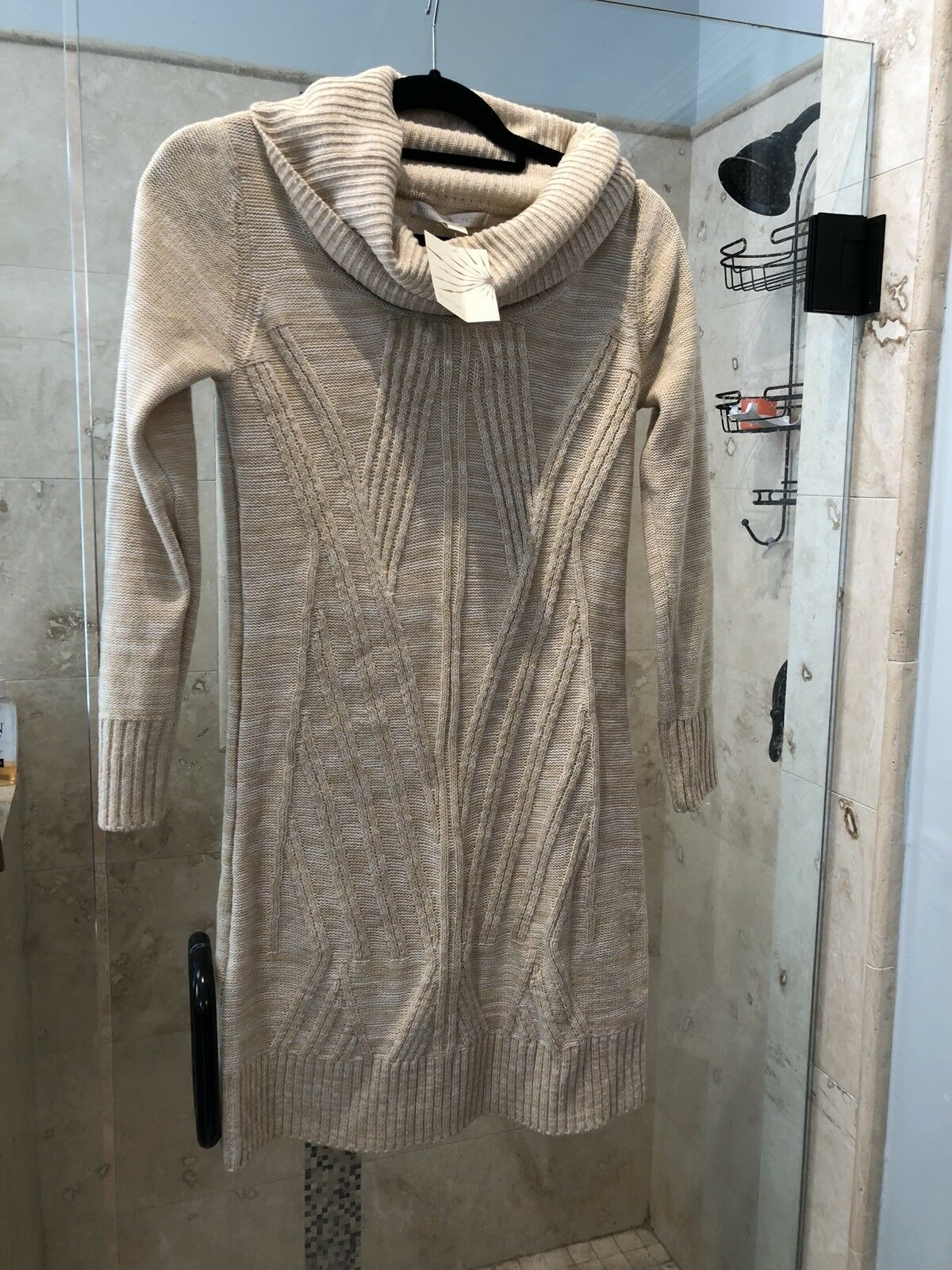 NEW Boston Proper XS 2 4 Cowl Oatmeal Tan Cable Knit Sweater Dress   98 Nwt