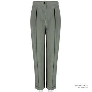 Dries-Van-Noten-Khaki-Green-Turn-Up-Hem-Boyfriend-Trousers-Pants-FR38-UK10