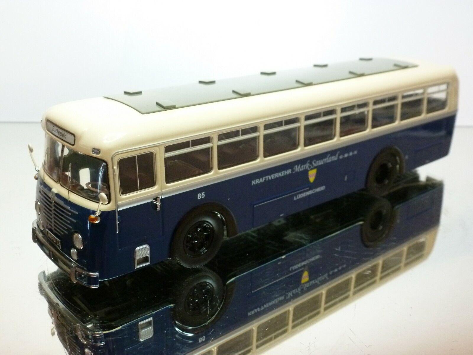 SCHUCO 03472 BÜSSING TRAMBUS 6500T MARK-SAUERLAND - bleu 1 43 - VERY GOOD