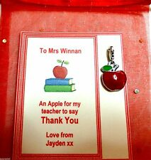 Apple for Teacher Clipon Charm Teacher Thank You Gift Personalised Gift Card/Bag